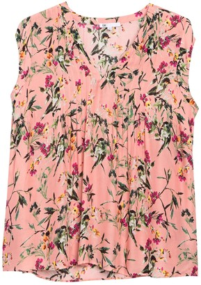Dr2 By Daniel Rainn Floral Pintuck V-Neck Blouse (Plus Size)