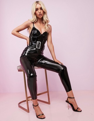 ASOS DESIGN Luxe corseted vinyl belted catsuit with embellished buckle
