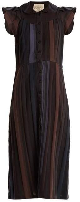 Ace&Jig Ophelia Ruffled Sleeved Striped Cotton Dress - Womens - Dark Blue