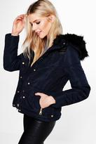 Boohoo Emily Padded Jacket With Faux Fur Hood
