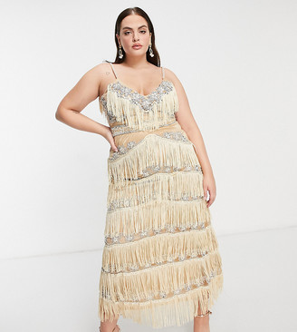 A Star Is Born Plus exclusive embellished fringe midaxi dress in silver and gold