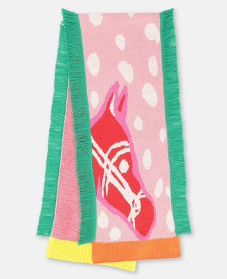 Stella Mccartney Kids Stella McCartney horses intarsia knit scarf