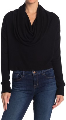 Fifteen-Twenty Cowl Neck Ribbed Knit High/Low Top