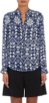 L'Agence Women's Bianca Abstract-Floral Silk Blouse-BLUE