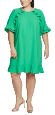 CeCe Plus Size Ruffled Crepe Dress