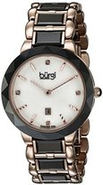 Burgi Women's BUR147BKR Rose Gold and Black Quartz Watch With Diamond Mother of Pearl Dial And Black and Rose Gold Ceramic Bracelet