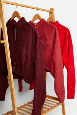 Urban Renewal Vintage Remade From Vintage Red Corduroy Shacket - Red M/L at Urban Outfitters
