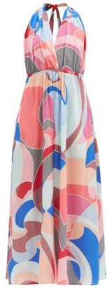Emilio Pucci Abstract-print Halterneck Georgette Dress - Pink Multi