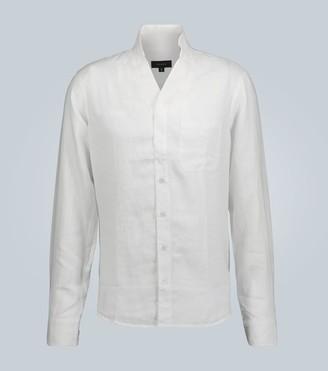 Mandarin-collar linen shirt