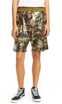 R 13 Sequin Camo Panel Shorts