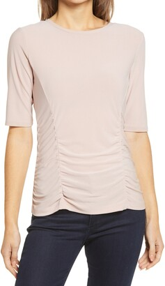 Halogen Ruched Elbow Sleeve Top