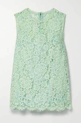 Dolce & Gabbana - Cotton-blend Corded Lace Top - Mint