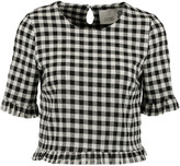 Eight Gingham cotton-blend top