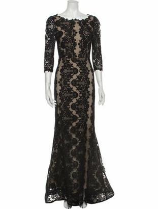 Alice + Olivia Lace Pattern Long Dress Black