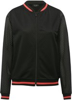 M&Co Mesh neon stripe bomber jacket