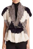 Vince Colorblock Rabbit Fur Vest