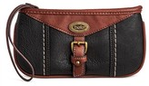 Bolo Women's Faux Leather Wristlet Wallet with Interior Compartments and Zipper Closure - Black/Walnut