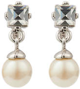 Susan Caplan Vintage 1980s Nina Ricci Delicate Silver Plated Faux Pearl and Swarovski Crystal Drop Earrings, Silver/White