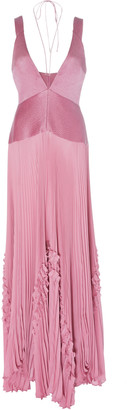 Alexis Bellona Pleated Paneled Georgette Maxi Dress