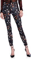 Nour Hammour Floral-Print Leather Skinny Jeans
