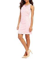 Adrianna Papell Beaded Neck Onassis Tweed Shift Dress