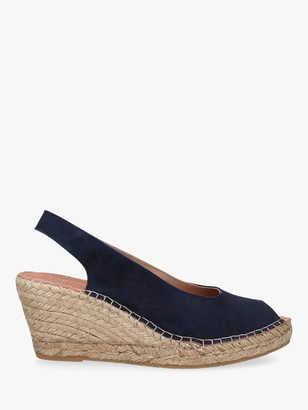 Carvela Comfort Sharon Wedge Heel Espadrille Sandals, Navy Blue