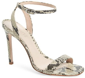 Schutz Cinzia Snake Embossed Ankle Strap Sandal