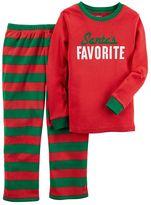 "Carter's Girls 4-10 Santa's Favorite"" Top & Bottoms Pajama Set"