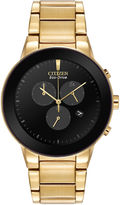 Citizen Eco-Drive Axiom Mens Gold-Tone Chronograph Watch AT2242-55E