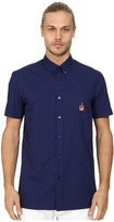 Love Moschino Short Sleeve Blue Patch Button Up
