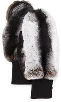 Glamourpuss NYC Rabbit Fur/Knit Mittens, Black