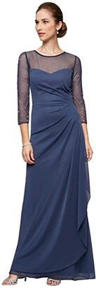 Alex Evenings Long A-Line Dress with Beaded Sleeve (Wedgewood) Women's Dress