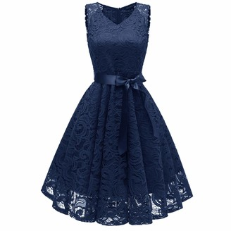 Moent Women Wedding Princess Dress Women's V-Neck Floral Lace Cocktail Neckline Party A-line Sleeveless Ball Gowns Bridesmaid Vintage Swing Dresses(Navy-L)