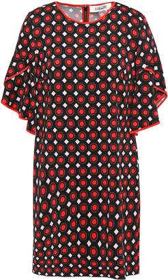 Diane von Furstenberg Tula Draped Printed Stretch-crepe Mini Dress