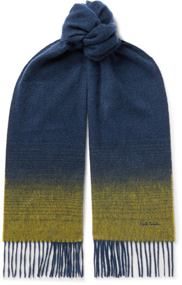 Paul Smith Logo-Embroidered Degrade Fringed Cashmere Scarf