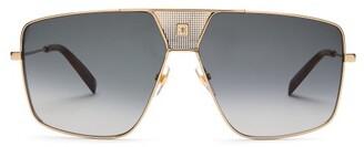 Givenchy Logo-engraved Flat-top Aviator Metal Sunglasses - Womens - Grey Gold