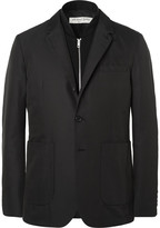 Burberry Black Slim-Fit Shell Blazer With Detachable Wool Gilet