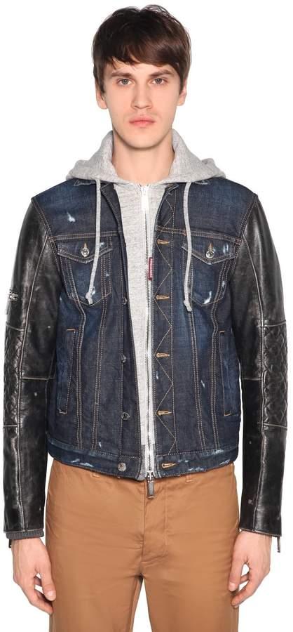 DSQUARED2 Denim & Leather Jacket W/ Jersey Hood