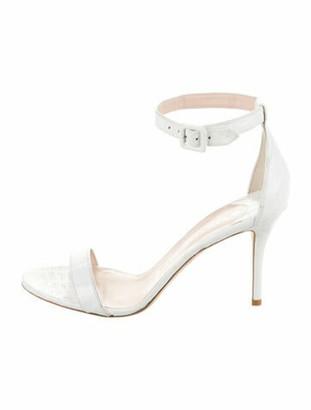Nancy Gonzalez Tina Crocodile Ankle Strap Sandals White