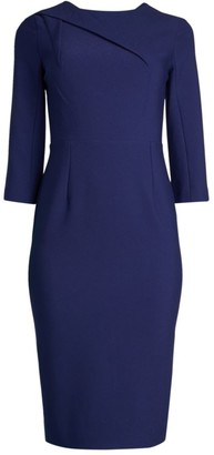 Roland Mouret Hisley Asymmetric Seam Tea-Length Sheath Dress