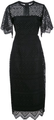 Carolina Herrera Crochet Midi Sheath Dress
