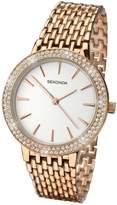 Sekonda White Dial Stone Bezel Rose Tone Bracelet Ladies Watch