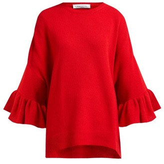 Valentino Ruffled-cuff Virgin Wool-blend Sweater - Womens - Red