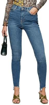 Topshop TALL Mid Blue Jagged Hem Jamie Jeans 34-Inch Leg