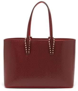 Christian Louboutin Cabata Spike-embellished Leather Tote Bag - Burgundy