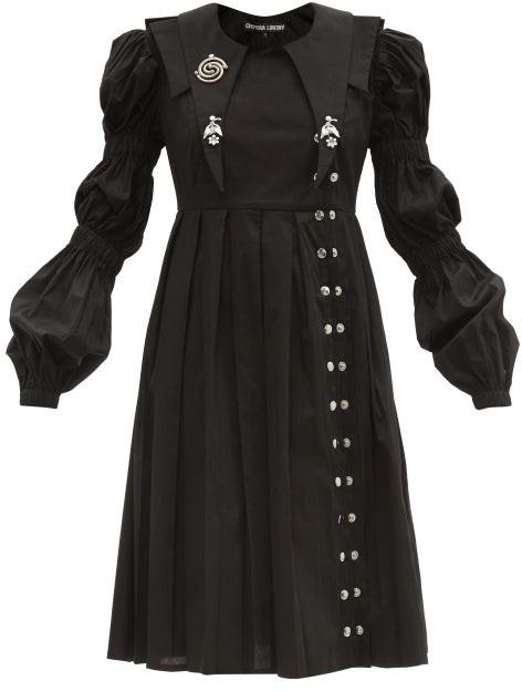Thumbnail for your product : Chopova Lowena Pleated Organic-cotton Poplin Dress - Black