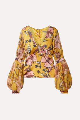 Silvia Tcherassi Corinilla Floral-print Silk-blend Satin And Organza Blouse - Yellow
