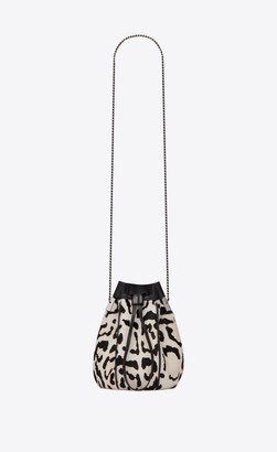 Saint Laurent Bucket Bag Talitha Small Bucket Bag In Leopard-print Pony-effect Leather And Smooth Leather White Onesize