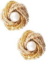 Beaded Knot Clip Earrings