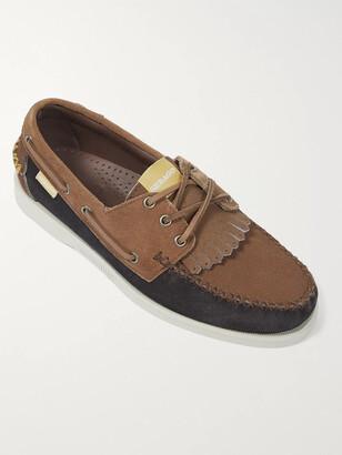 Universal Works + Sebago Portland Colour-Block Suede Kiltie Boat Shoes